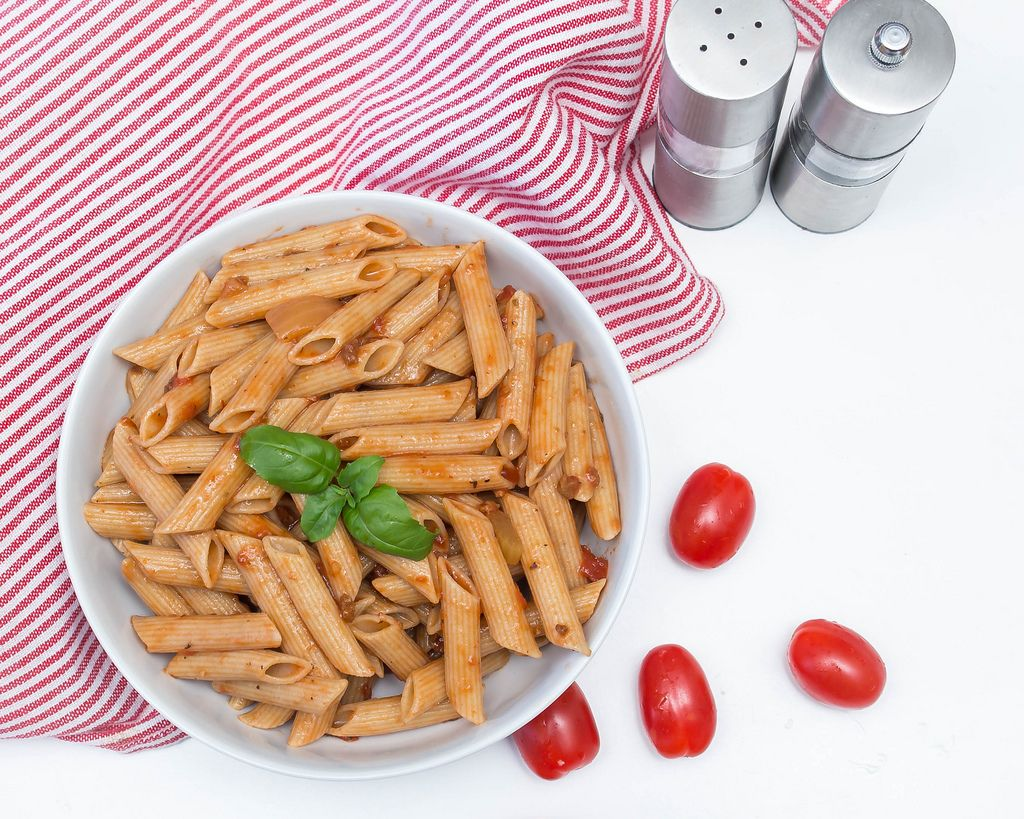 Penne Pasta Close Up with Tomato Sauce Top View