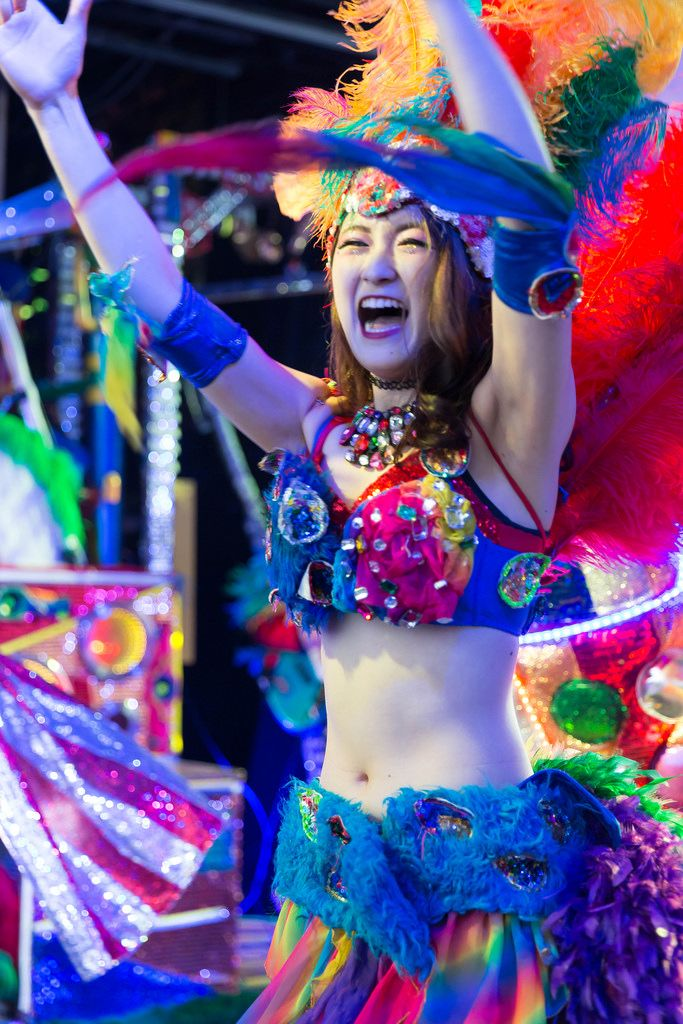 Performer giving it everything at the Robot Restaurant in Shinjuku, Tokyo