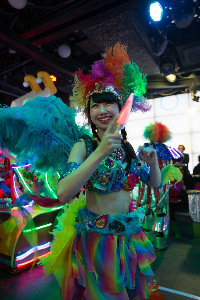 Performer with a red star at the Robot Restaurant in Shinjuku, Tokyo