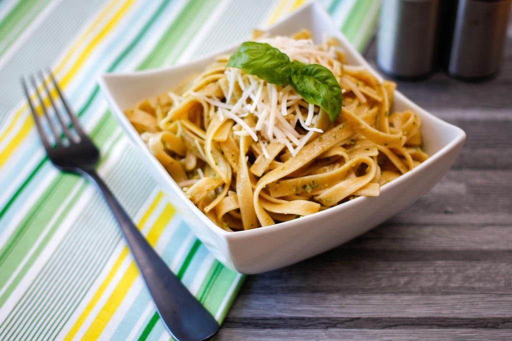 Pesto Pasta Close-Up in a white Bowl