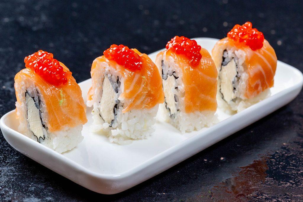 Philadelphia Sushi with red caviar
