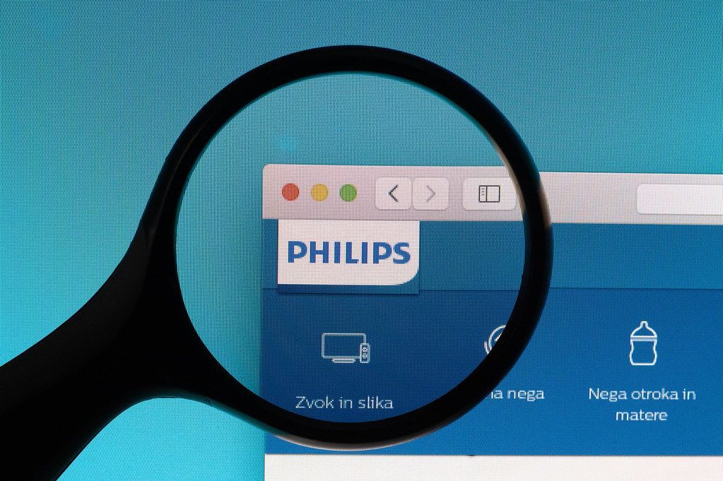 Philips logo under magnifying glass