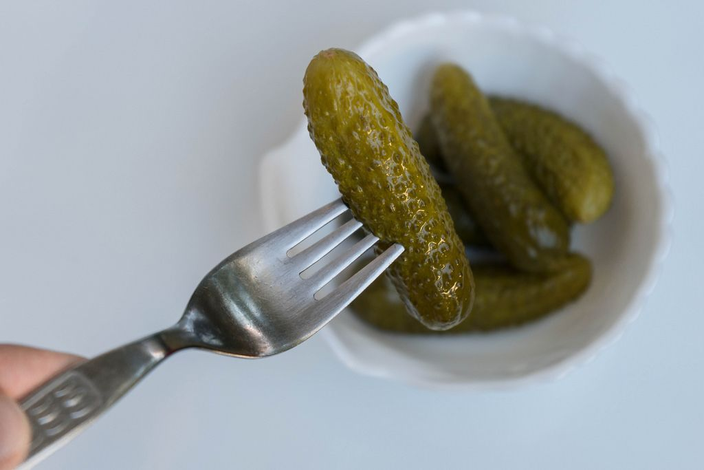 Pickled Cucumber - Pickle - on a steel fork