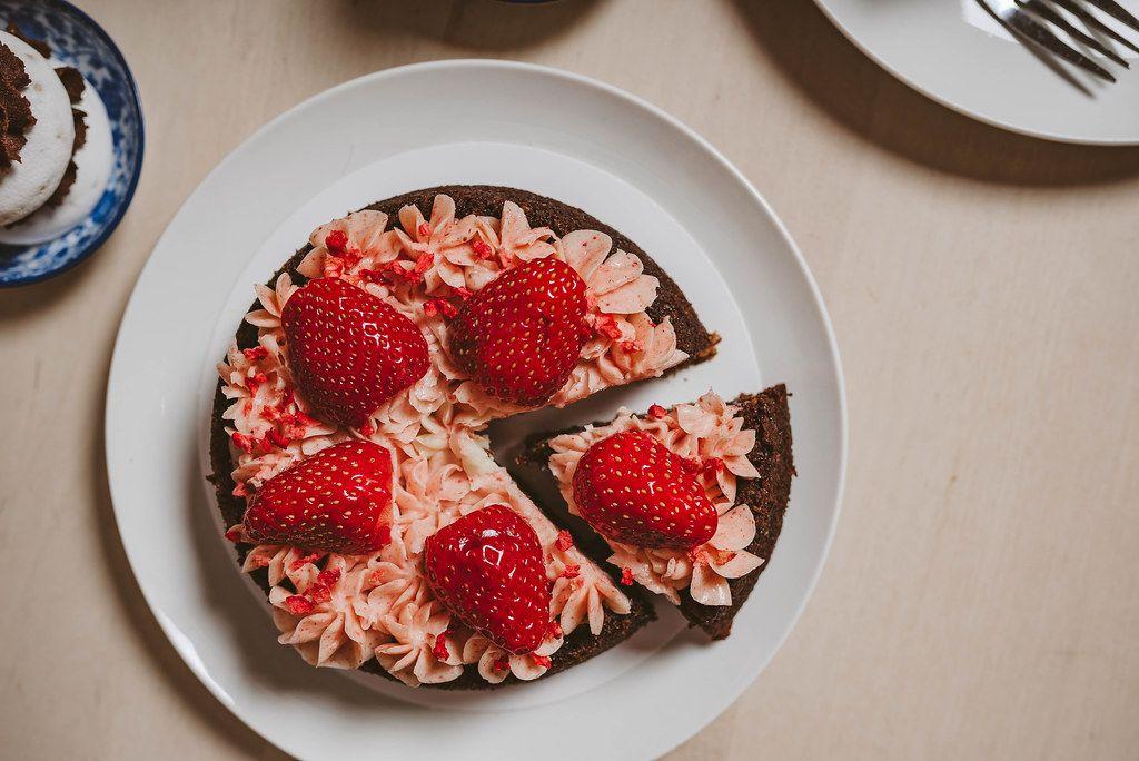 Piece Of Strawberry Homemade Cake