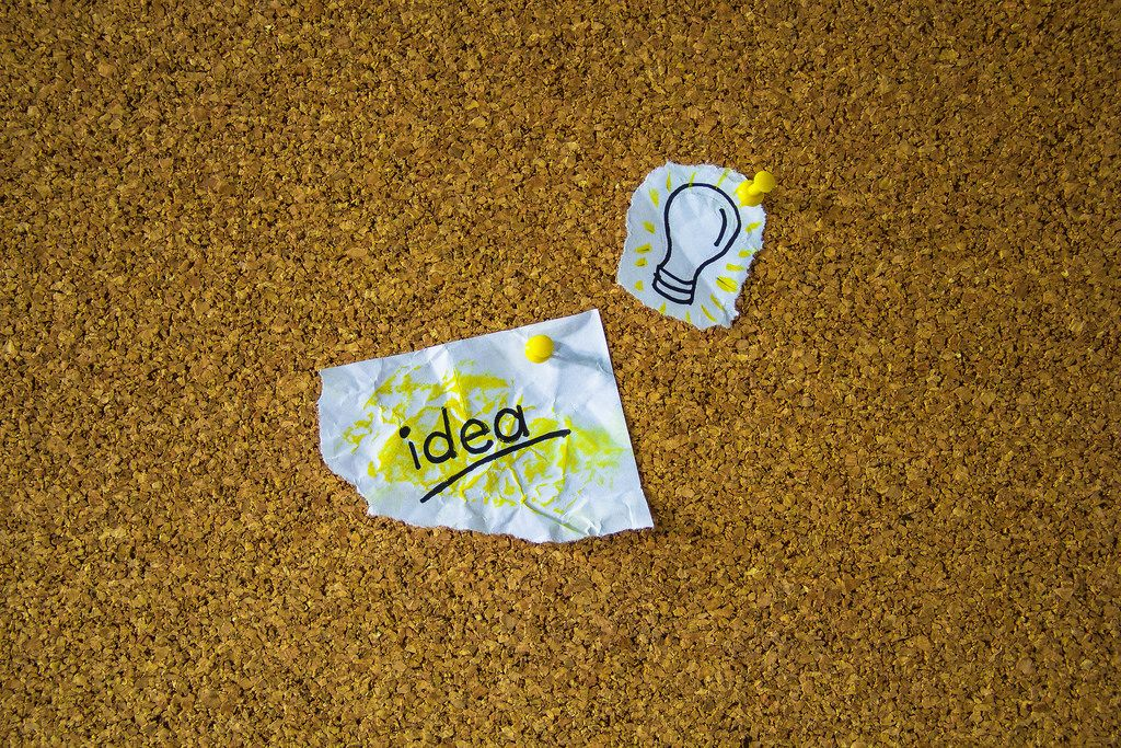 Pieces of Paper depicting an Idea