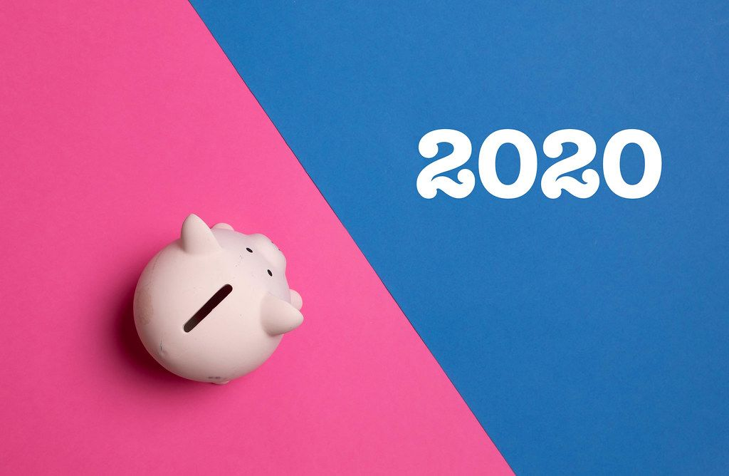 Piggy bank with 2020 text