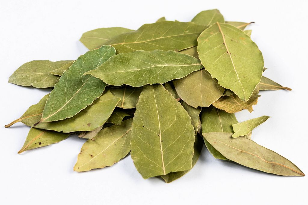 Pile of Dried Baf Leafs on the white background