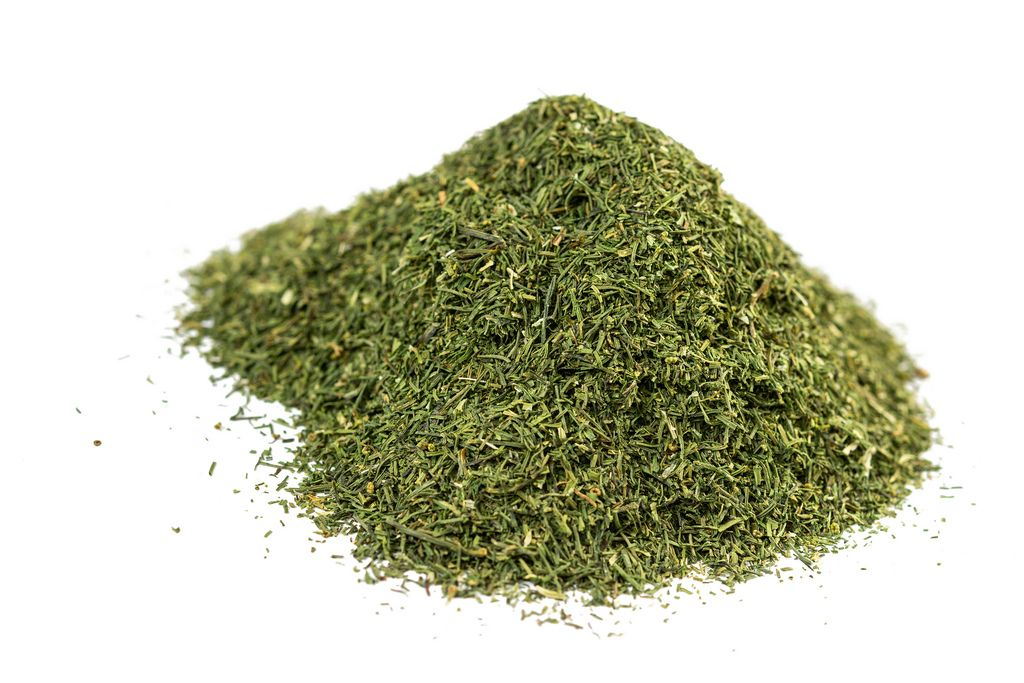 Pile of Dried Dill on the white background