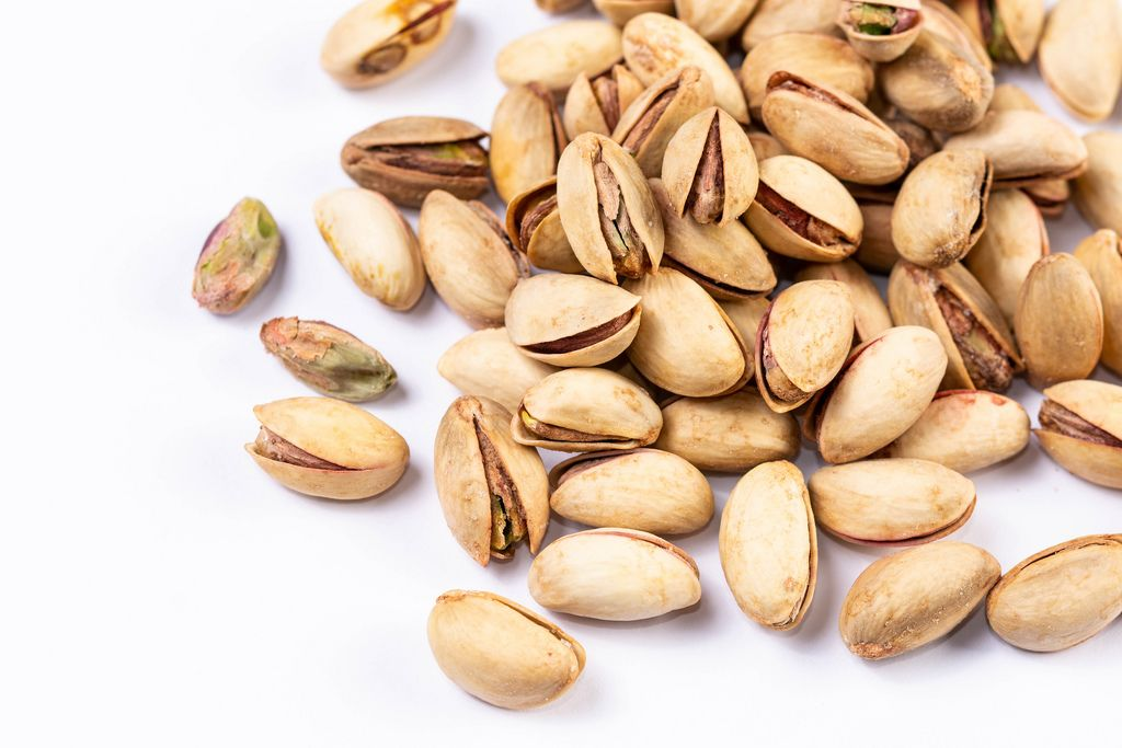 Pile of Pistachios on the white background