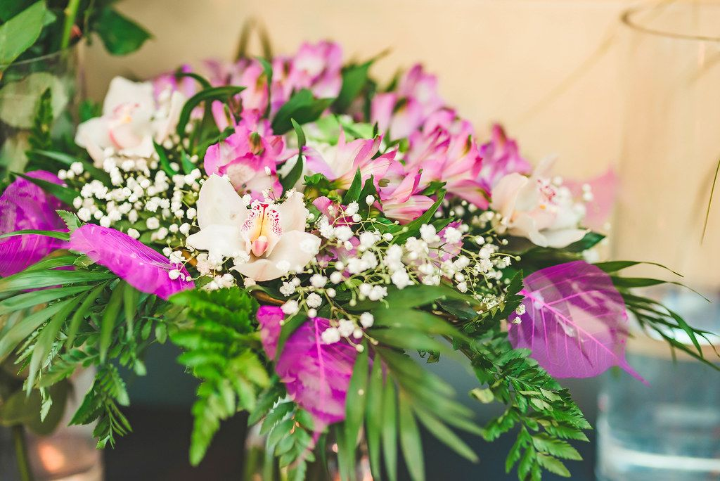 Pink Orchid and Freesia Bouquet