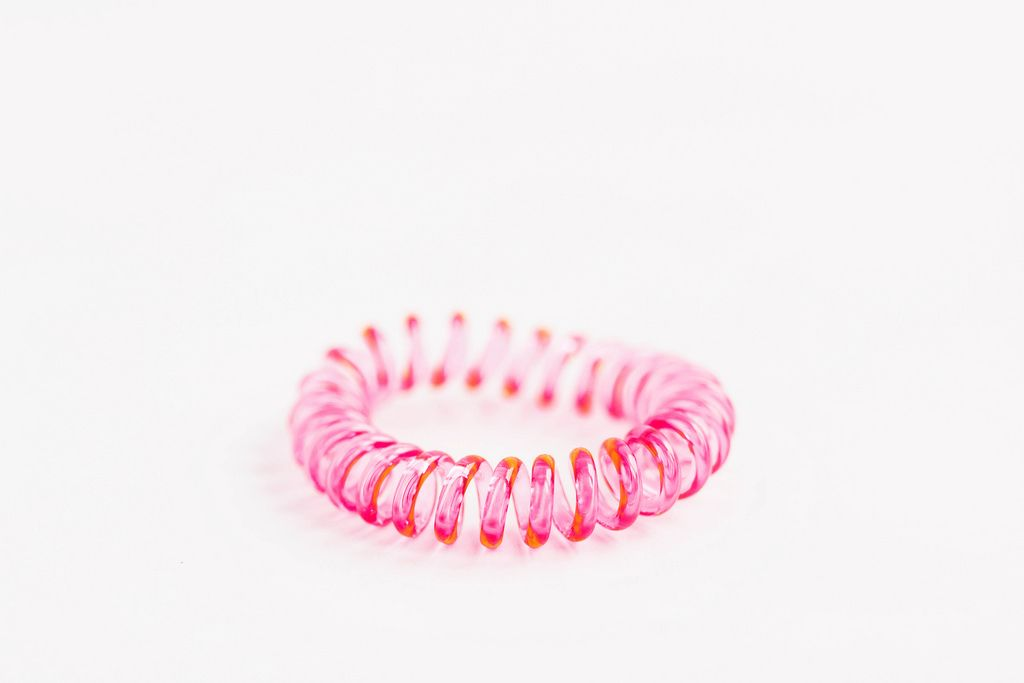 Pink silicone hair rubber band