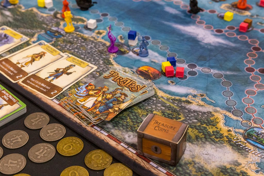Pirates Brettspiel aufgebaut in der Nahaufnahme