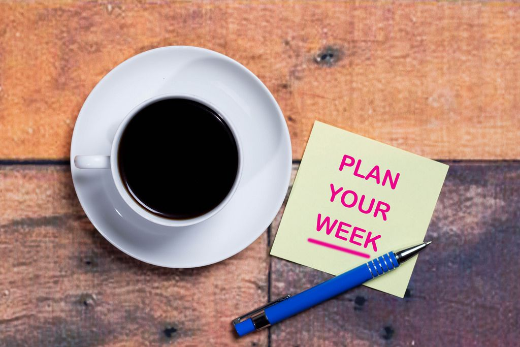Plan your week - Plane deine Woche auf einer Notiz mit einer Tasse Kaffee
