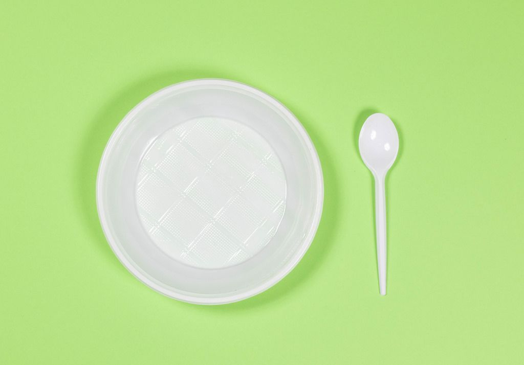 Plastic plate and spoon