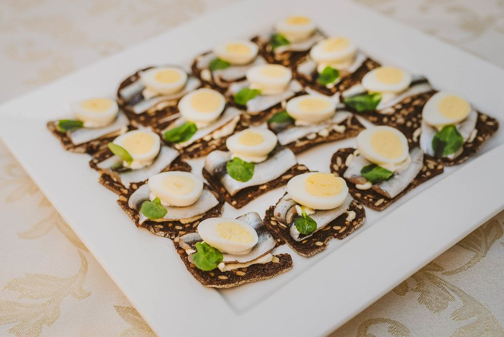 Plate Of Anchovies And Egg Canape Snacks (Flip 2019)