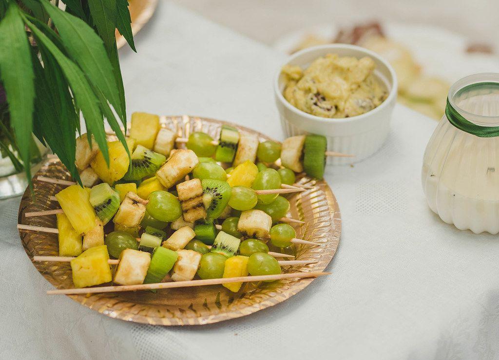 Plate OF Fresh Kiwi, Banana And Grape Pieces (Flip 2019)