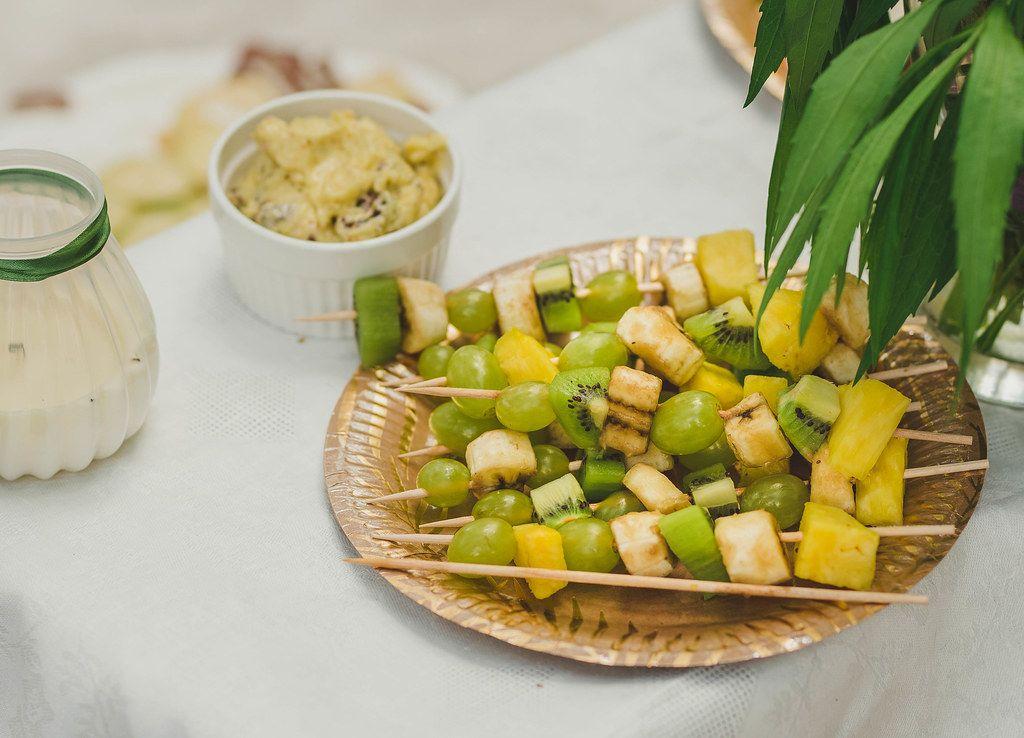 Plate OF Fresh Kiwi, Banana And Grape Pieces