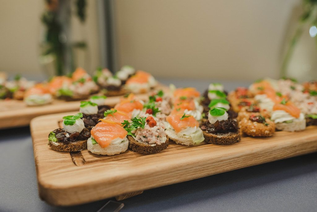 Plate Of Salmon, Pork, Bread Canapes (Flip 2019)