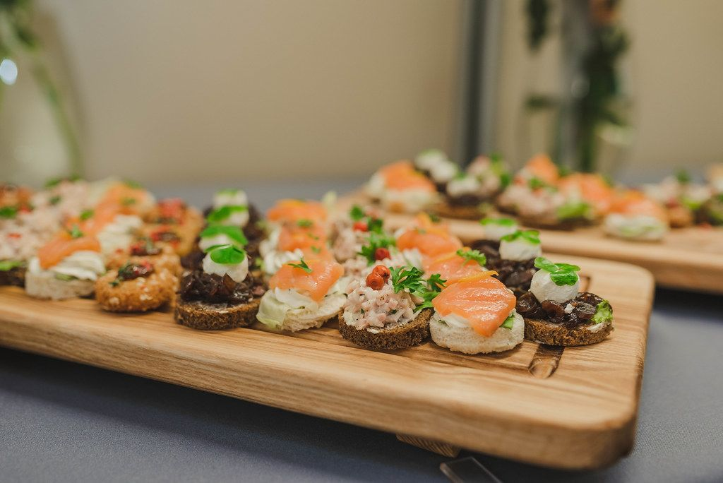 Plate Of Salmon, Pork, Bread Canapes
