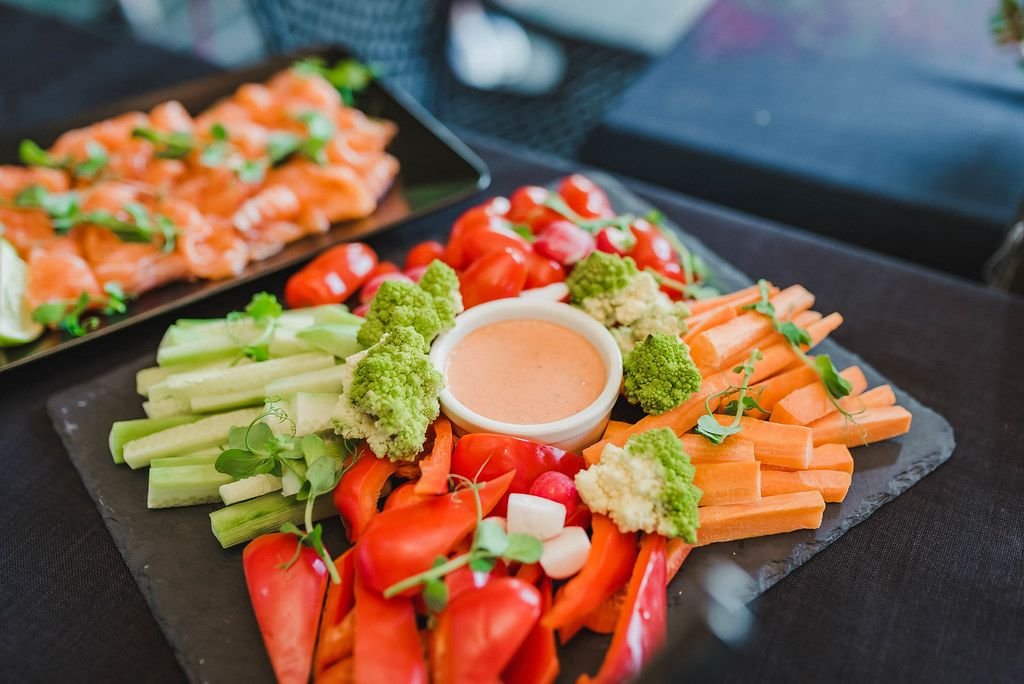 Plate Of Seasonal Vegetables With Sauce
