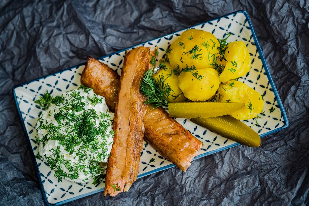Plate Of Smoked Salmon With curd And Potatoes