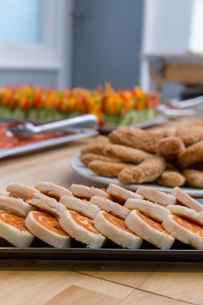 Plates with different kinds of finger food