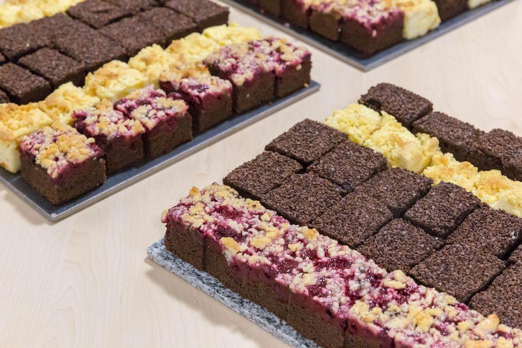 Plum and chocolate cake at a buffett