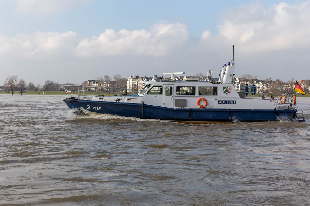 Police boat on the Rhine in Dusseldorf