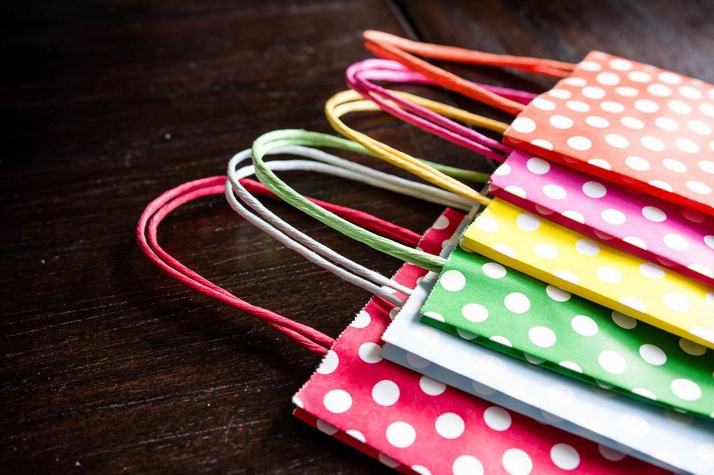 Polka dot paper bags