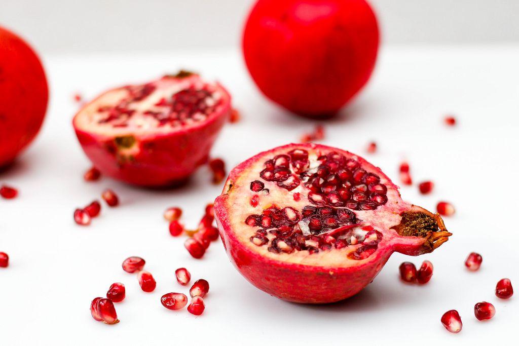 Pomegranata on a White Background Close-up