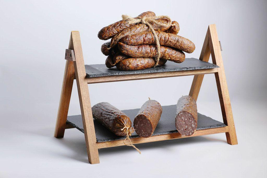 Pork salami and sausages on display