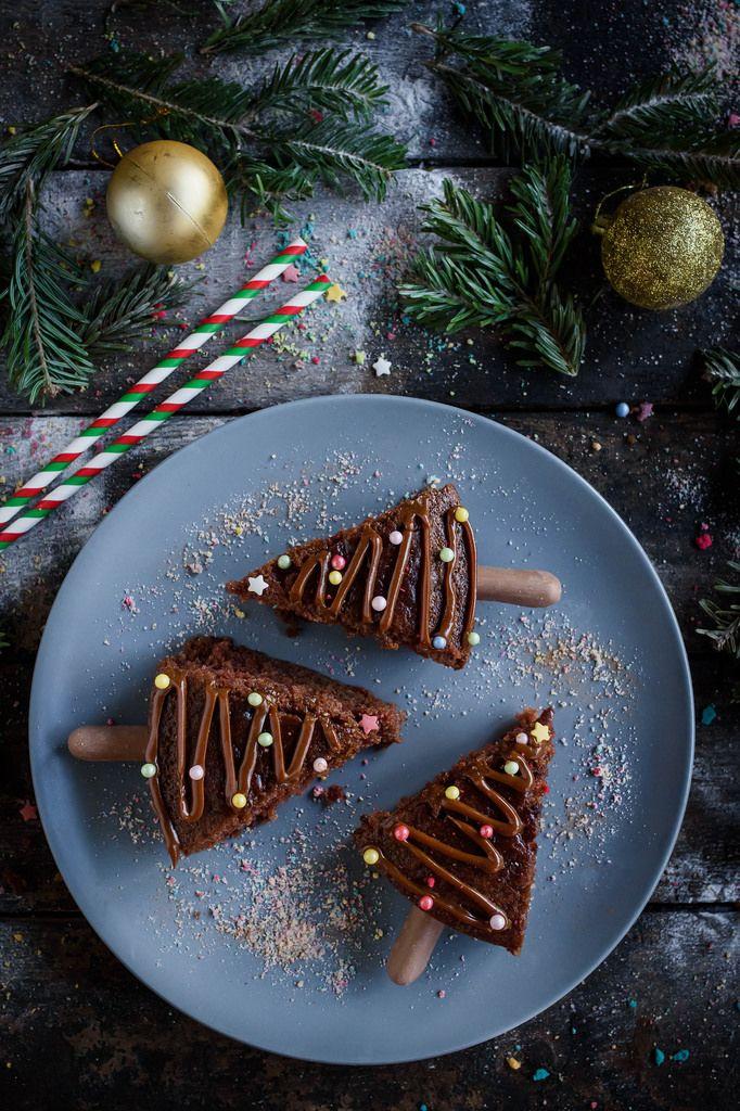 Portrait shot of Christmas chocolate cake on blue plate