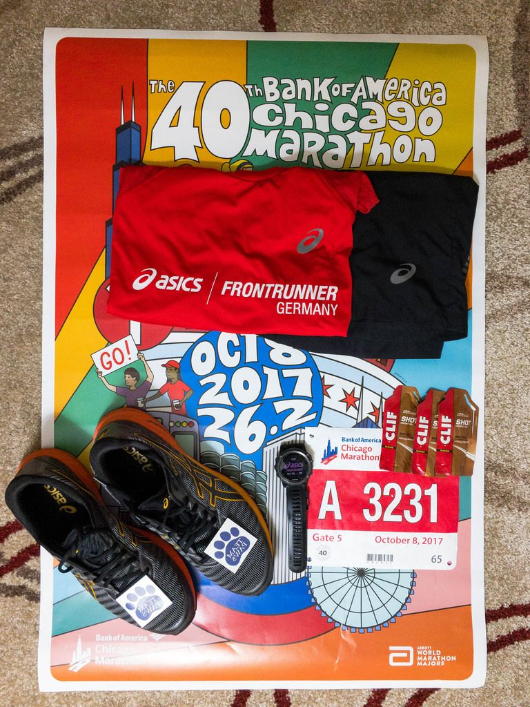 Preparation for the 40th Chicago Marathon 2017  with Anniversary Poster in Background