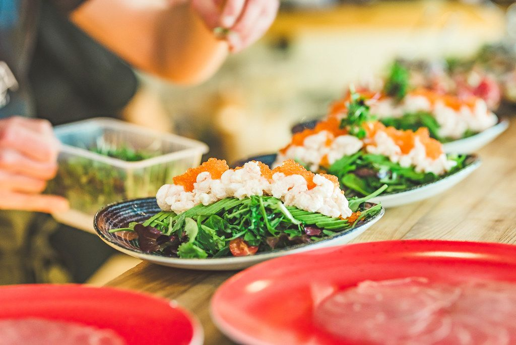 Preparing Seafood Salad With Salmon Cream and Fish Eggs (Flip 2019)