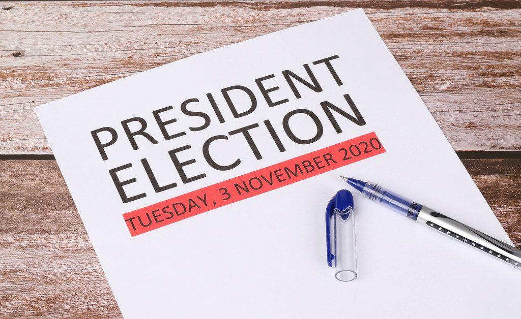 President Election date with wooden background
