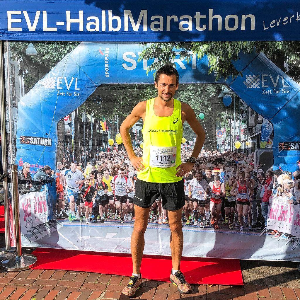 Professional Marathon Runner in Racing Singlet before Start