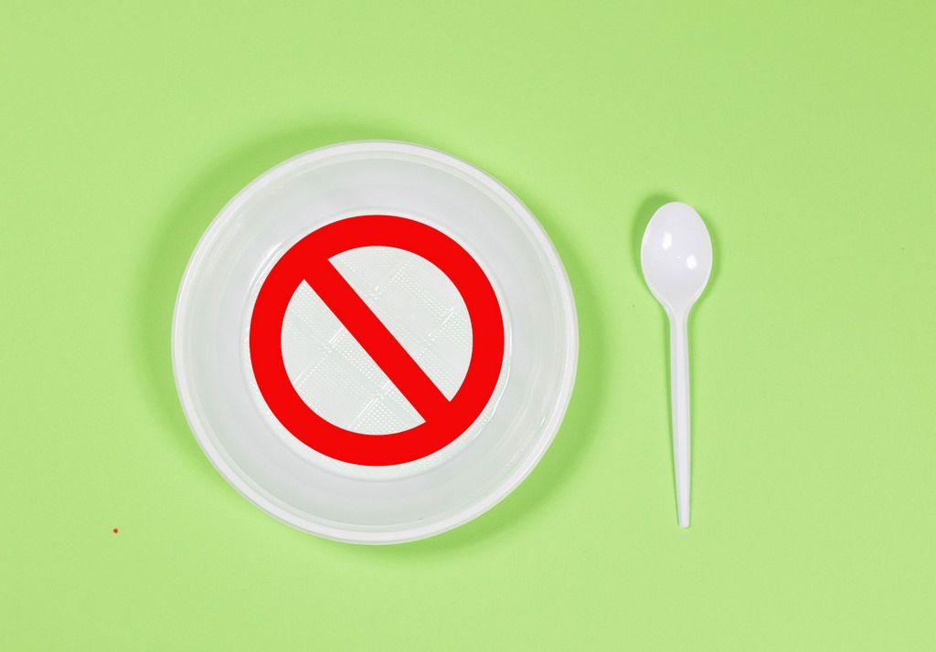 Prohibition circle on plastic plate