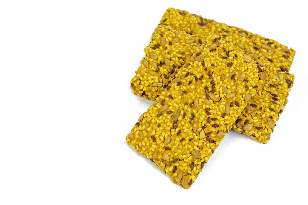 Protein Curcuma Cereals Crackers above white background