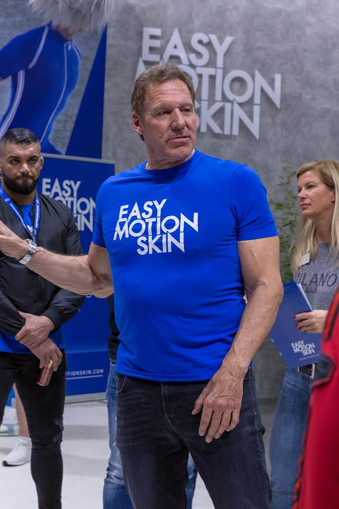 Ralf Moeller German actor and bodybuilder promotes Easy Motion Skin, a high-tech way of training through wireless