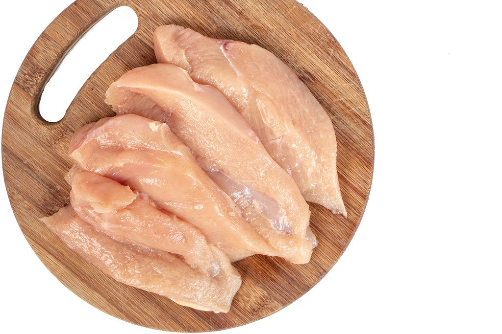 Raw Chicken Breasts on the wooden board with copy space (Flip 2019)