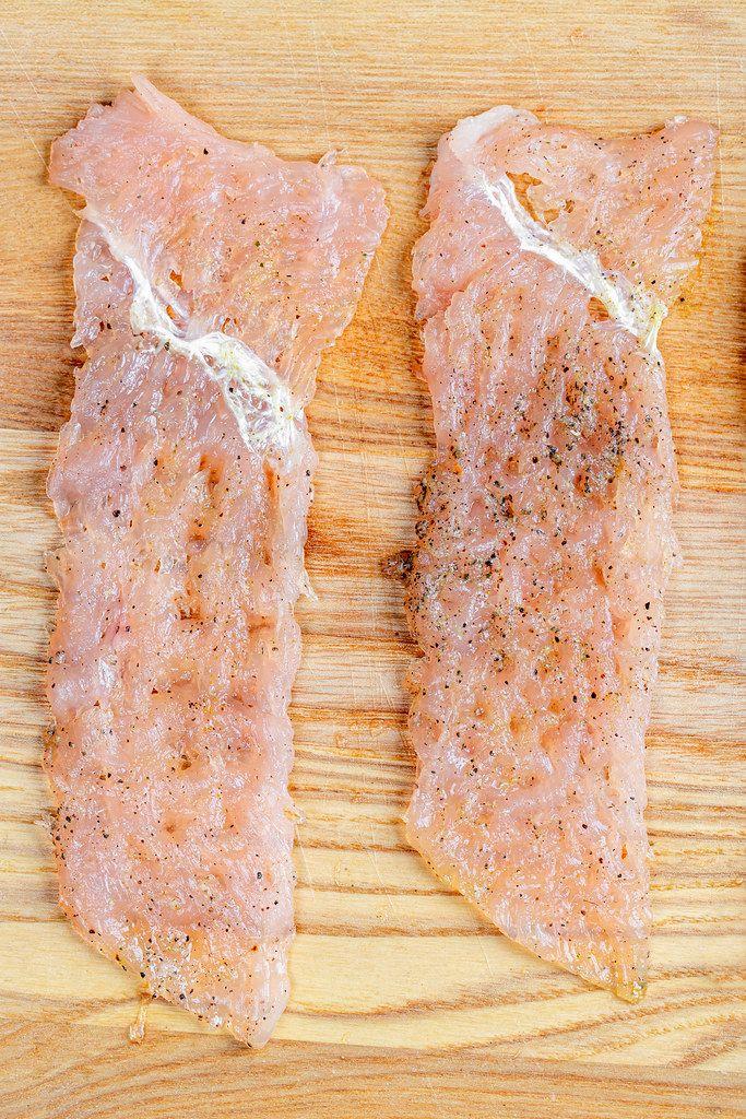 Raw chicken chops on a wooden kitchen Board