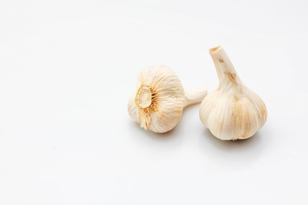 Raw Garlic on a White Background