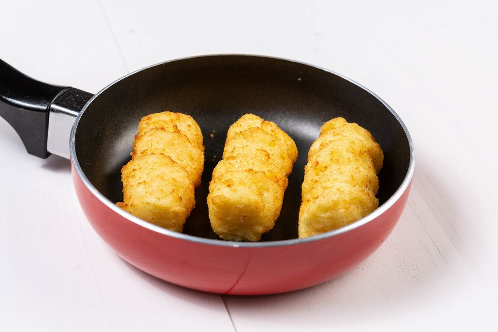 Raw Potato Croquettes in the Frying Pan
