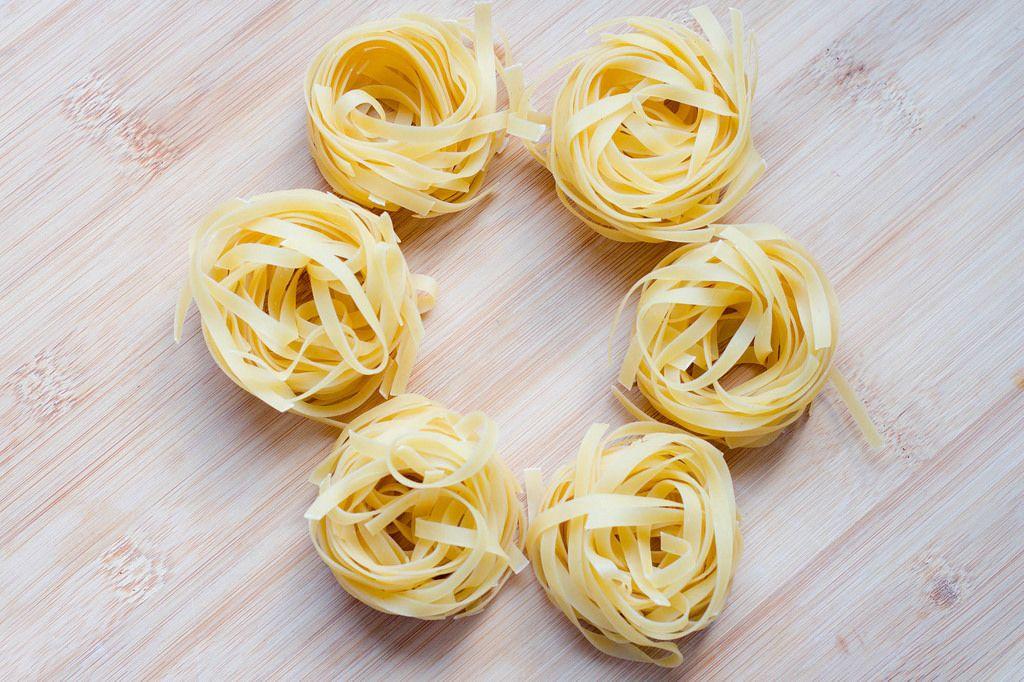 Raw tagliatelle pasta
