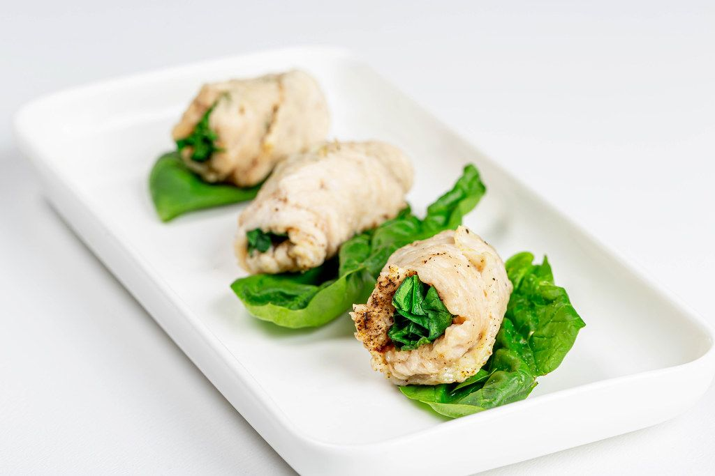 Ready-made chicken rolls with spices and spinach