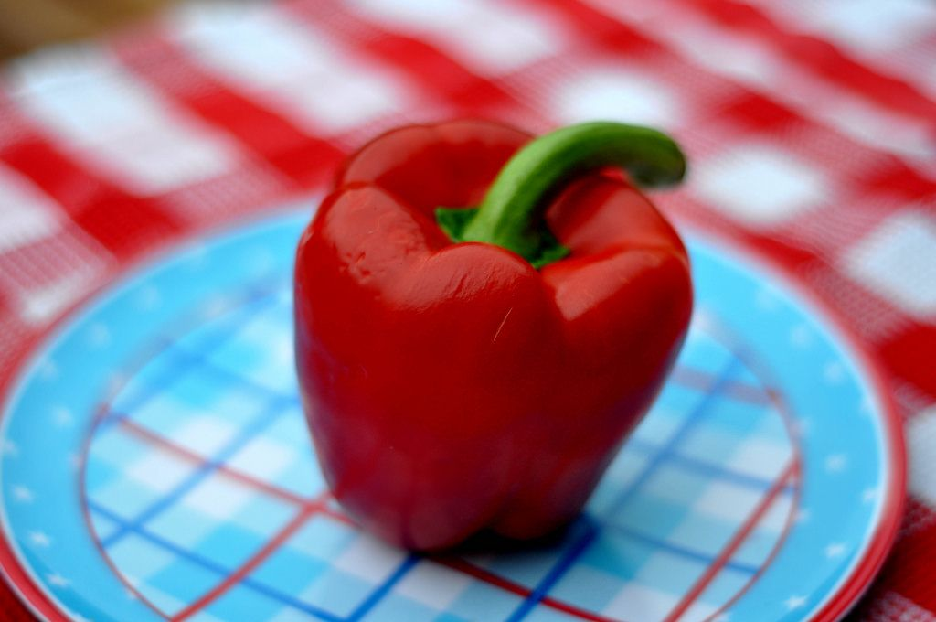 Red bell pepper with a blurred background