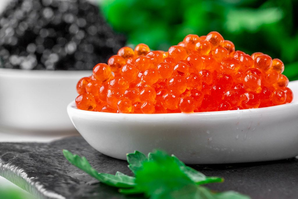 Red caviar close-up