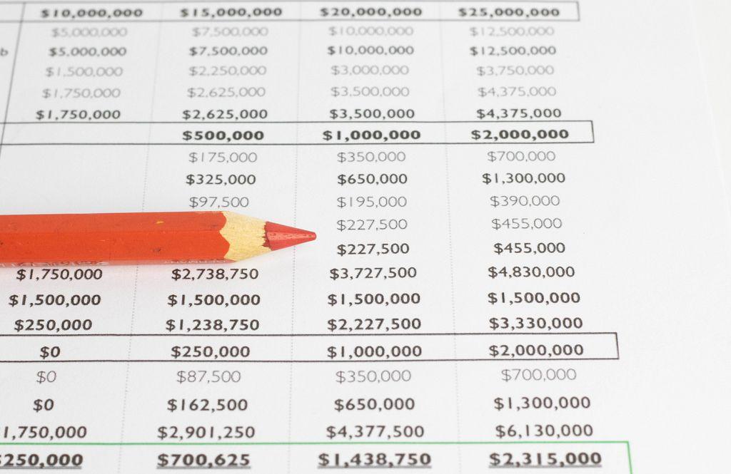 Red pen on spreadsheet