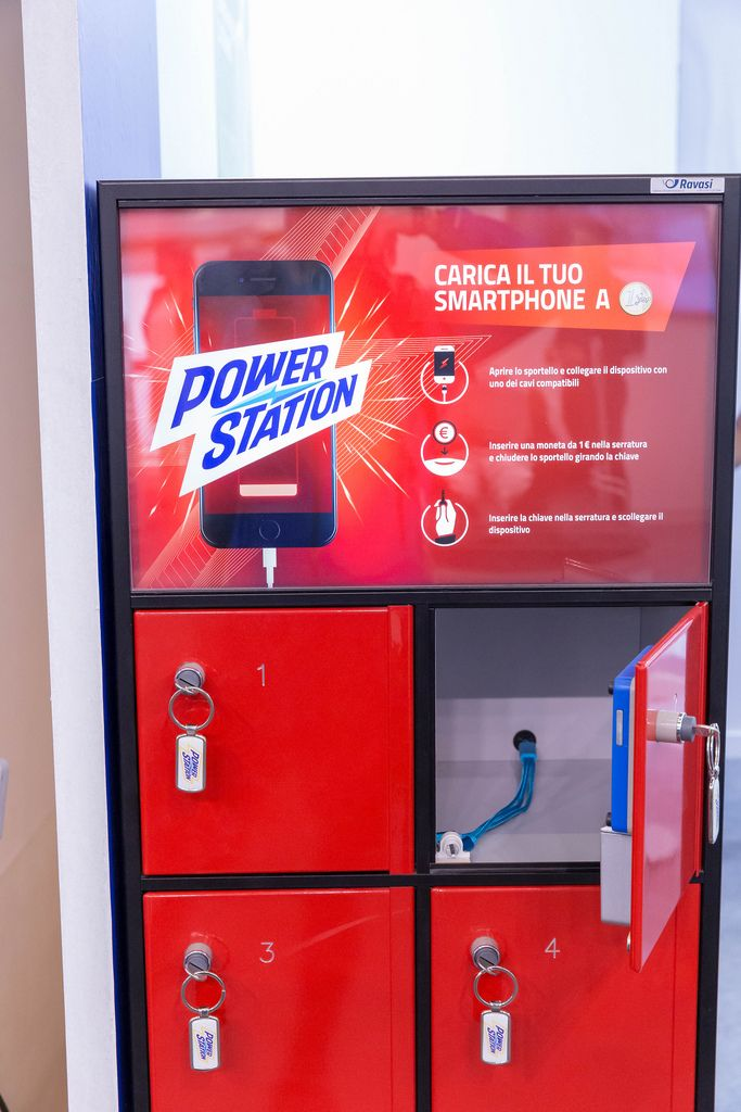 Red power station for instant phone charging at Fibo Cologne