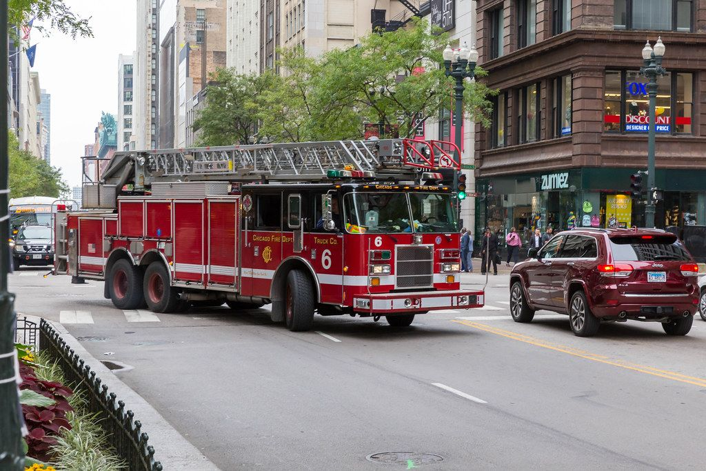 Red Truck with roof ladder from Chicago Fire Dept. in the US